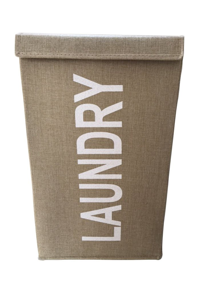 Laundry Hamper with Lid Laundry Basket Jute Canvas Taupe Stone Color - STYLISH: Elegant jute canvas, neutral stone color. This practical laundry clothes hamper will look great in any bedroom, bathroom and laundry room. STURDY: This laundry hamper is reinforced and stands upright by itself. CLOSING LID: Keep dirty laundry hidden with the handy velcro-closing lid. - laundry-room, hampers-baskets, entryway-laundry-room - 610co%2BNDNcL -