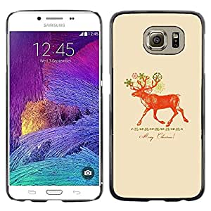 iKiki Tech / Estuche rígido - Christmas Deer Red Peach - Samsung Galaxy S6 SM-G920