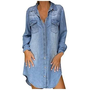Amazon.com: Sttech1 Women Denim Shirt Dresses Long Sleeve ...