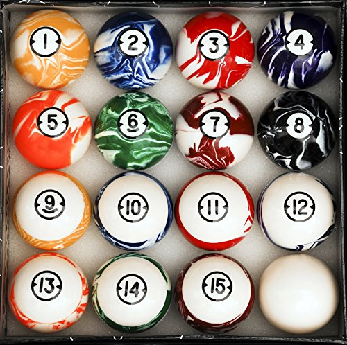 Pool Table Billiard Ball Set, Classic Marble Style (Ball Set Style)