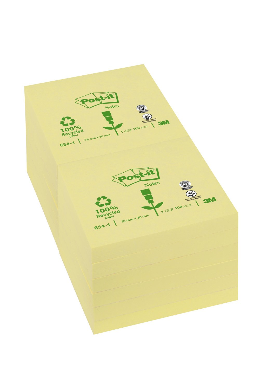 3 blocs /à 100 Feuilles Post-it 6531GE Recyclage Notes 38 x 51 mm Jaune