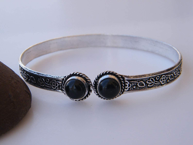 Surbhi Crafts Black Onyx Bracelet Adjustable Bracelet AH-13447 Bangle Bracelet Handmade Silver Plated Cuff Bangle Bracelet