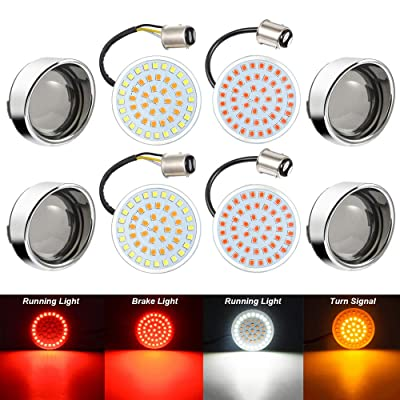 "Amazicha 2"" LED Turn Signal Bullet 1157 White Amber Front Turn Signal Bulbs + 1157 Red Rear Turn Signal Lights, 4 PCS Chrome Bezel Smoke Lens Compatible for Harley Softail Sportster Touring: Automotive"