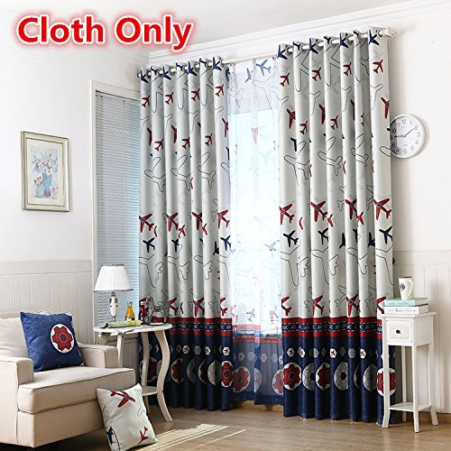 WPKIRA Window Treatments Kids Cartoon Curtains Airplane Grommet Top Thermal Insulated Room Darkening Blackout Curtains Window Panel for Bedroom/Living Room 1 Panel W52 x L84 inch