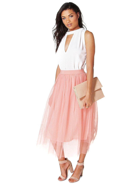 Peach Womens Boutique Aya Tulle Full Midi Skirt