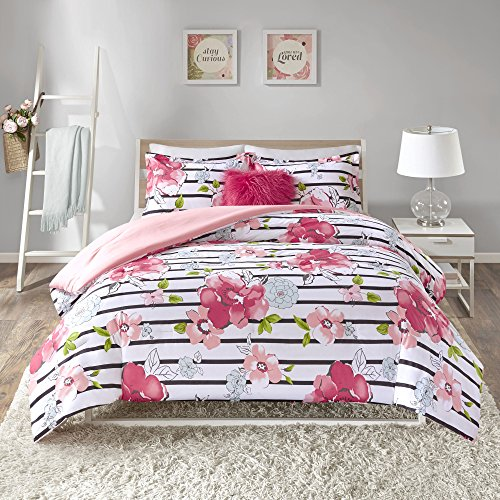 Comfort Spaces - Zoe Comforter Set - 4 Piece - Pink - Printed Multi Vibrant Youthful Color Floral Design with Faux Fur Accent Pillow - Full/Queen, includes 1 Comforter, 2 Shams, 1 Decorative Pillow