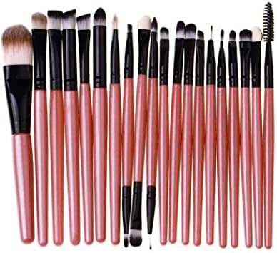 20 Unids Mango De Madera Set de Brochas de Maquillaje herramientas ...