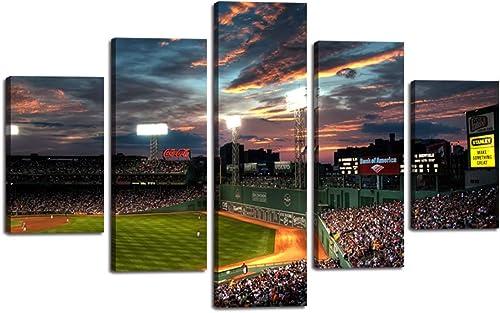 Cheap Yatsen Bridge Landscape Canvas Prints 5 Panels Fenway Park Painting Poster Baseball Game Wall Art Picture Decor canvas wall art for sale