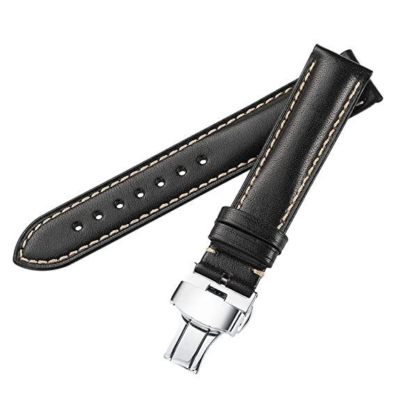 a61eeccb9 iStrap 20mm Genuine Calfskin Leather Watch Band Strap Steel Butterfly  Deployment Clasp Super Soft-Black