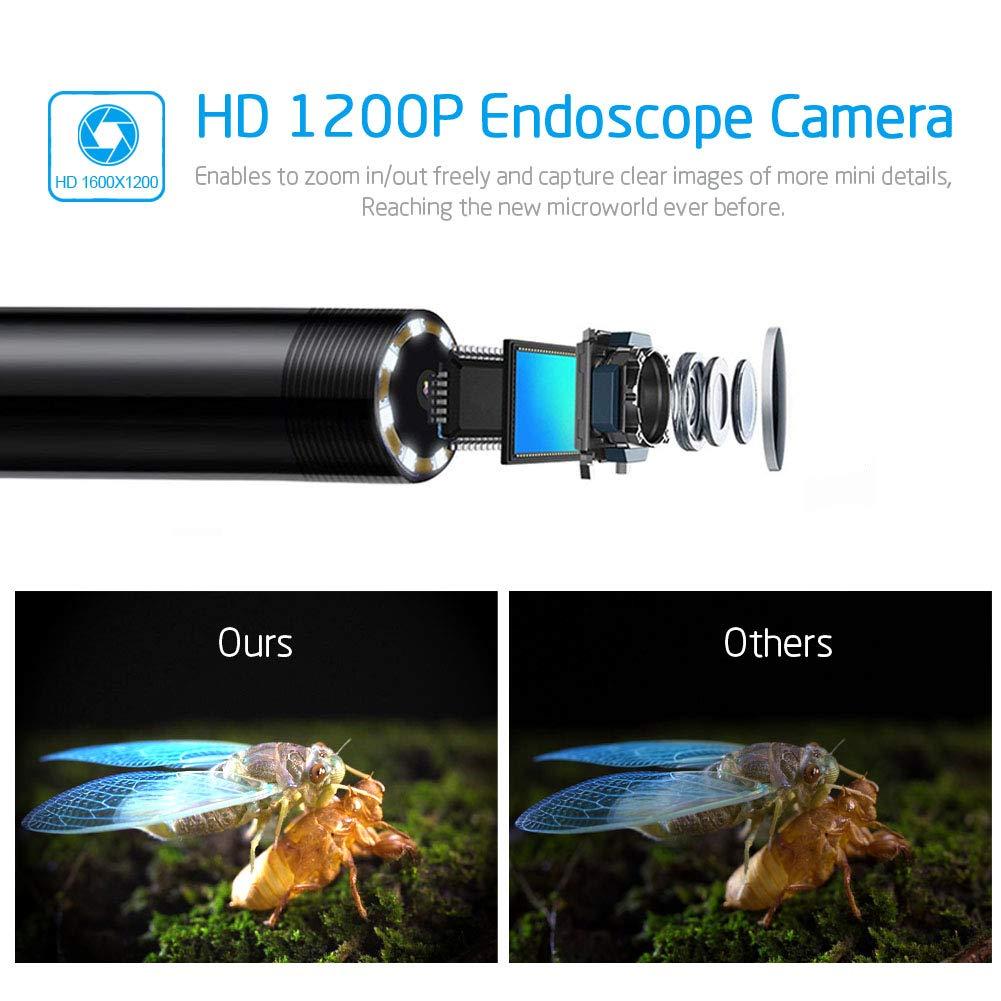 2 M/égapixels 1200P HD Camera/Inspection IP68 Etanche Cam/éra/Endoscopique avec 8 LED pour IOS Android 11.5ft Mac Endoscope Wifi Android Iphone Camera/Endoscopique USB iPad Laptop PC