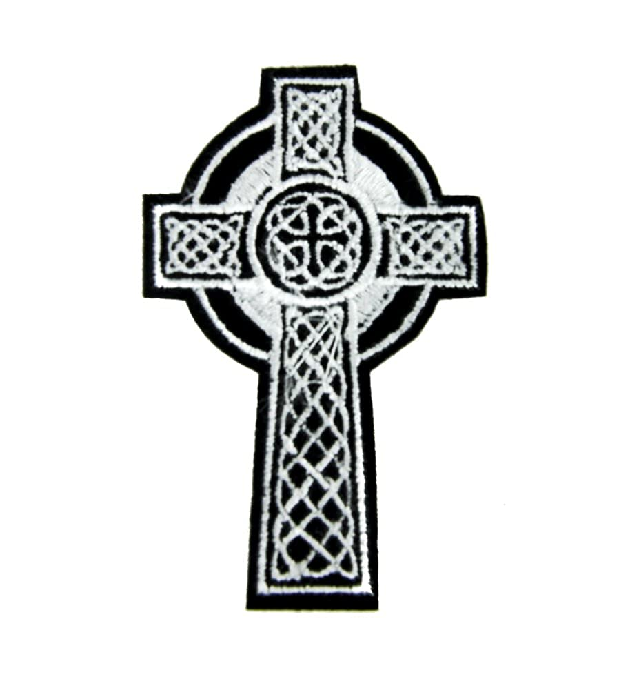 Tombstone Celtic Cross Patch Iron on Applique Goth Clothing Holy Relic Vikings