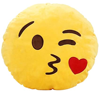 Emoji Cuscini.Ama Zode Cuscino A Forma Di Emoji Smiley Bacio In Peluche