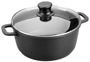 Lacor Forte 25828 - Cacerola con tapa de cristal, Aluminio, Negro, 28 cm: Amazon.es: Hogar