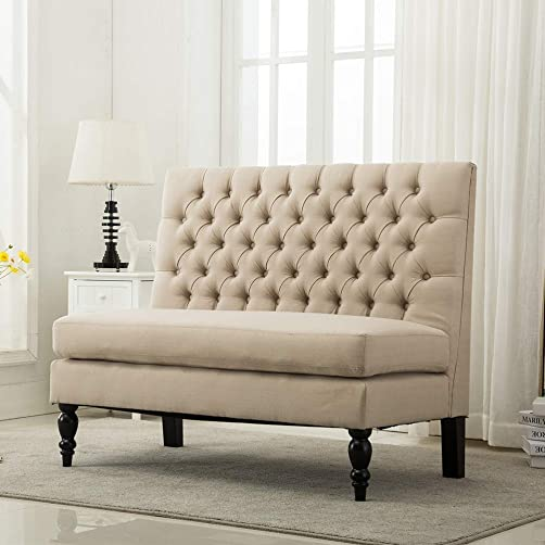 Modern Settee Bench Banquette loveseat Sofa Button Tufted Fabric Sofa Couch Ding Bench Chair 2-Seater