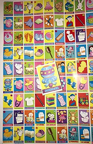 6 X Poster Mexican Baby Shower Loteria Bingo In Spanish + 1 Deck