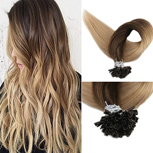 Full Shine 18 inch 1g/stand Nail Tipped Human Hair Extensions Color #4 Fading to Color #27 Honey Blonde Keratin U Tip Remy Balayage Hair 50 Gram