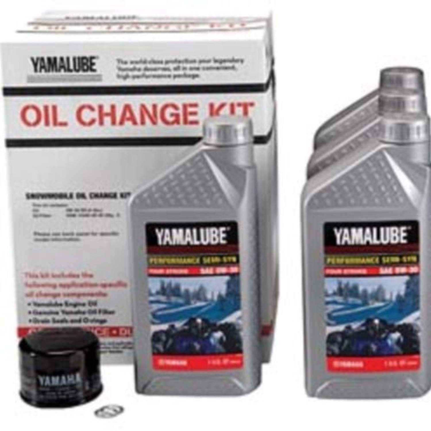 Yamalube Snowmobile Oil Change Kit 2 & 3 Cyl SS 1 Kt (0W30 SS Qty4) LUB-SMBCG-KT-01 by Yamaha (Image #1)