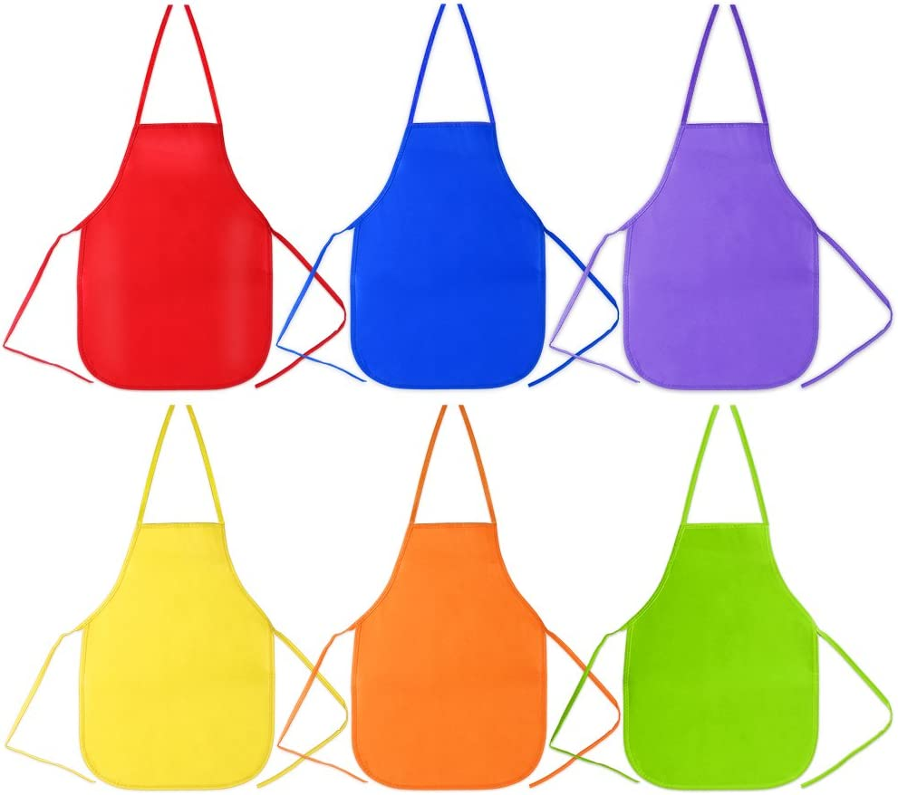 Caydo 6 Pack Middle Size Fabric Aprons for 5-10 Years Old Kids Community Event Applied in Kitchen Crafts and Art Painting Activity Classroom