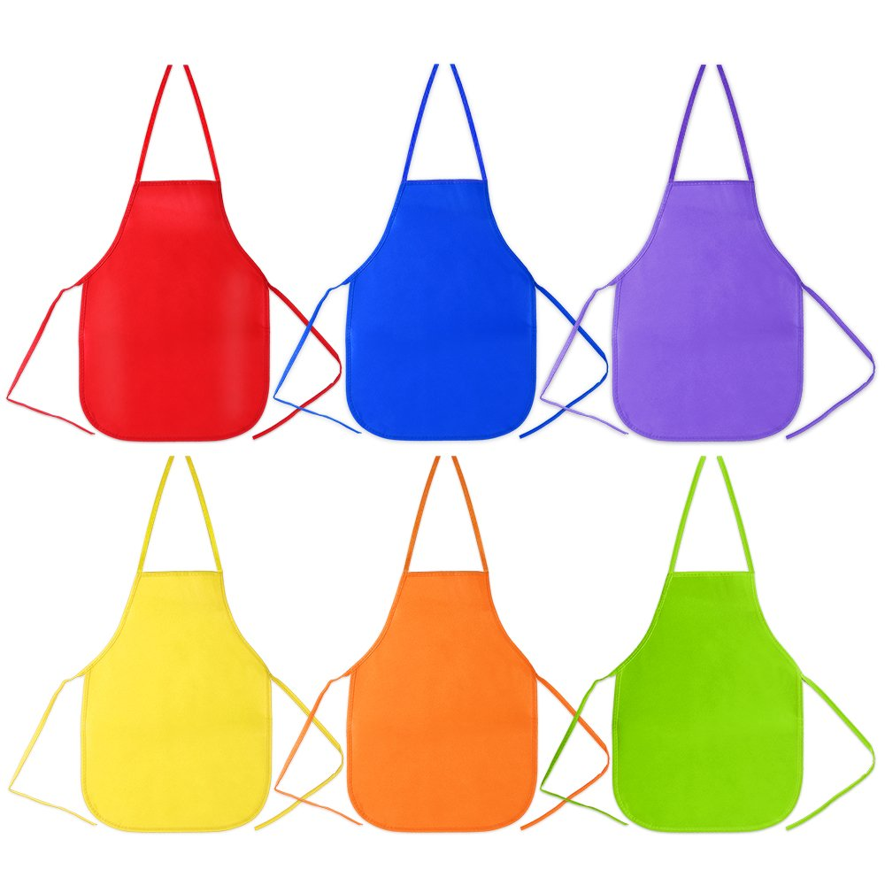 Pllieay 6 Pieces 6 Colors Kids Artist Apron 33 x 48cm Children's Artists Fabric Aprons for Kitchen, Classroom, Community Event, Crafts and Art Painting Activity