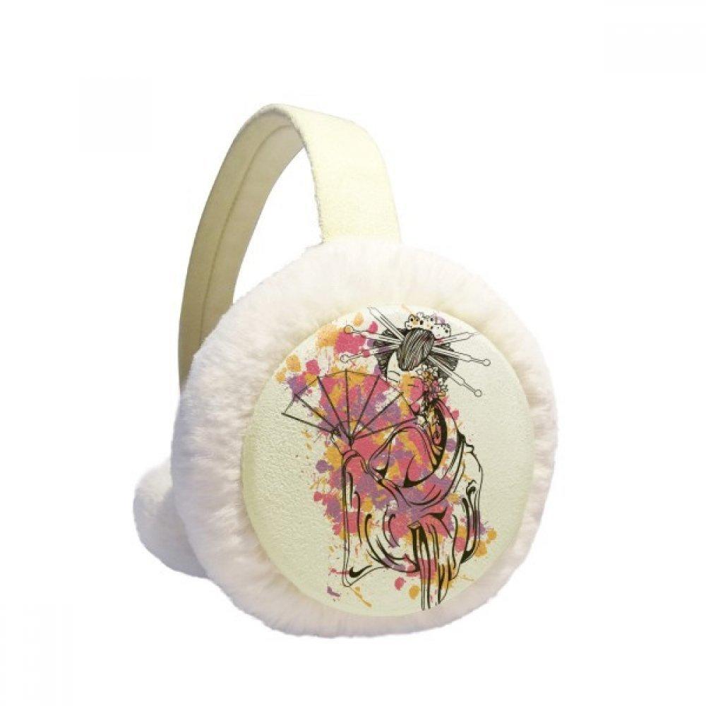 Japanese Culture Point Color Geisha Winter Earmuffs Ear Warmers Faux Fur Foldable Plush Outdoor Gift