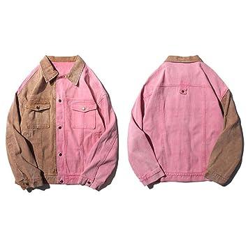 JIAKENVDE Chaqueta Vintage Color Block Patchwork Pink Denim ...