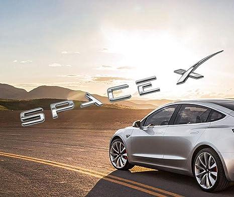 Spacex Decals 3D Metal Car Rear Trunk Emblem Sticker Badge Decals  Compatible Tesla Model S Model 3 Model X Decorative Accessories