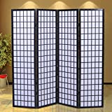 GHP Portable Black Wood Framed Folding 4-Panel Room Divider Screen
