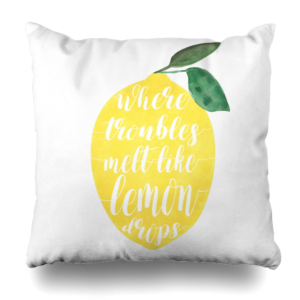 ONELZ Where Troubles Melt Like Lemon Drops Square Decorative Throw Case, Fashion Style Zippered Cover (20X20 inch)
