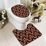 SOCOMIMI 2 Piece Toilet mat Set Floral Arabesque Islamic Pattern in Vibrant Colors Artsy Image Gold Chestnut Brown 2 Piece Shower Mat Set