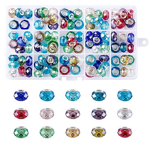 Pandahall 100pcs Glass European Beads Faceted Large Hole Beads Snake Chains Charms Big Beads for Earring Necklace Bracelet Jewelry Making with Brass Silver Core Mixed Color 14x9mm Hole: (Rondelle Lampwork Beads)