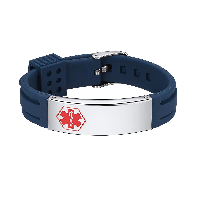 Supcare Free Engraving Silicone Adjustable Medical Bracelets Sport Emergency ID Bracelets for Men Women Kids Waterproof Stainless Steel Rubber Alert Bracelets