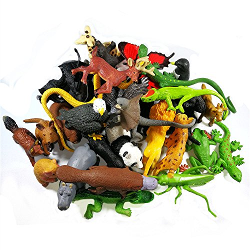 Wild Animals Ocean Sea Animal, 36+11 PCS Assorted Mini Animal Toy Set, Funcorn Toys Realistic Under The Sea Life Figure Bath Toy for Child Educational Party Cake Cupcake Topper (Wild animal) (Fun Facts About Cupcakes)