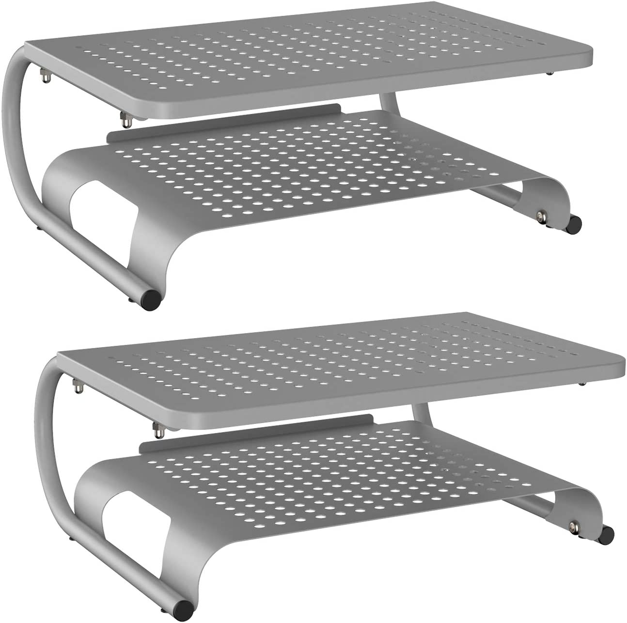 Monitor Riser Desktop Stand with Vented Metal and 2 Tier Desk Organizer Stand for Computer, Laptop, LED, LCD, OLED Flat Screen Display, iMac and Printer (STT001BS-2) by WALI, Silver, 2 Pack