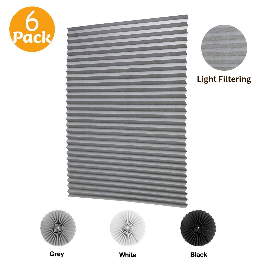LUCKUP 6 Pack Cordless Light Filtering Pleated Fabric Shade,Easy to Cut and Install, with 12 Clips (36''x72'' - 6 Pack, Grey) by LUCKUP