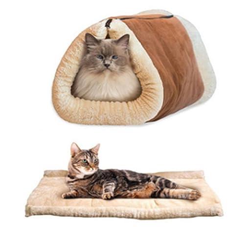 homeyuser 2 en 1 cama para gatos o mascotas, con tubo de forro polar,