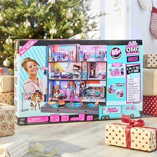 LOL Surprise OMG House – New Real Wood Doll House with 85+ Surprises | 3 Stories, 6 Rooms together with Elevator, Tub, Pool, Patio, Living Room, Kitchen, Piano Bedroom, Bathroom, and Fashion Closet