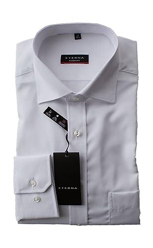 eterna Hemd Popeline, Weiß, Modern Fit, Bügelfrei, Knitterfrei, 100% Baumwolle, Classic Kent, Langarm 65cm, mit Brusttasche