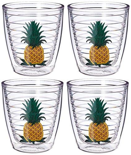 Tervis 1018401 Pineapple Tumbler with Emblem 4 Pack 12oz, (Pineapple Emblem)