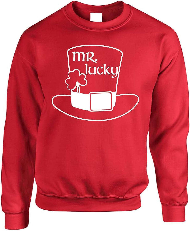 Allntrends Adult Sweatshirt Mr Lucky St Patricks Luck Clover Irish Party Top