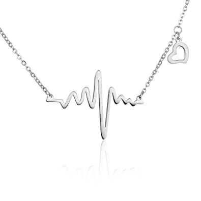 eada501e5 Silver Gold Lifeline Pulse Heartbeat ECG Charm Heart Pendant Necklace for  Women Lady Valentines Gift (