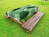 Ambesonne Palm Leaf Outdoor Tablecloth, Realistic Vivid Leaves of Palm Tree Growth Ecology Lush Botany Themed Print, Decorative Washable Picnic Table Cloth, 58 X 120 inches, Fern Green White