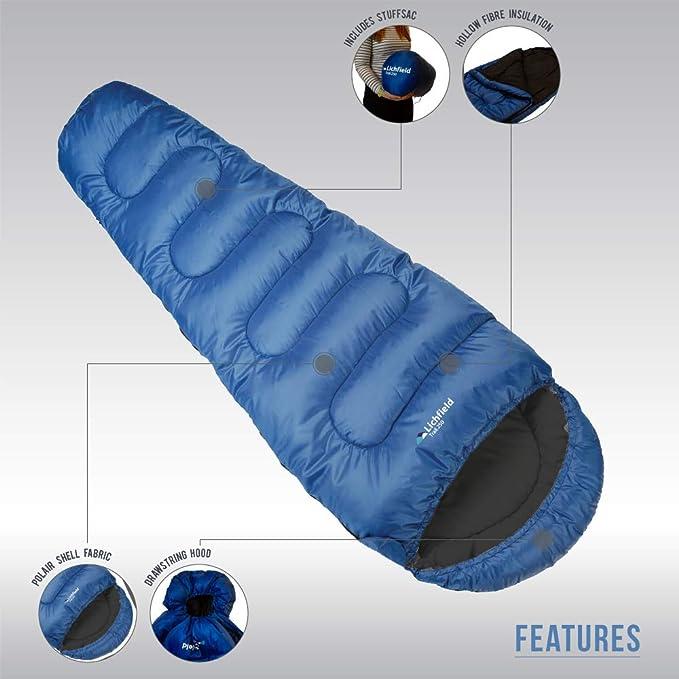 Lichfield Sleeping Bag, Schlafsack Trail 250, Olympian Blue, 220x80x50, SBGTRAIL O37163, Negro, Talla Única: Amazon.es: Deportes y aire libre