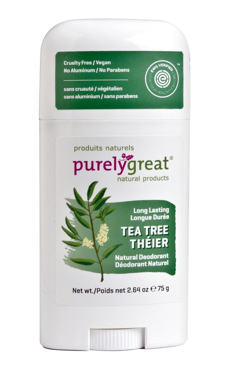 Purelygreat Natural Deodorant Stick - Tea Tree - EWG Verified™ - Vegan, Cruelty Free - No Aluminum, No Parabens - Essential Oils