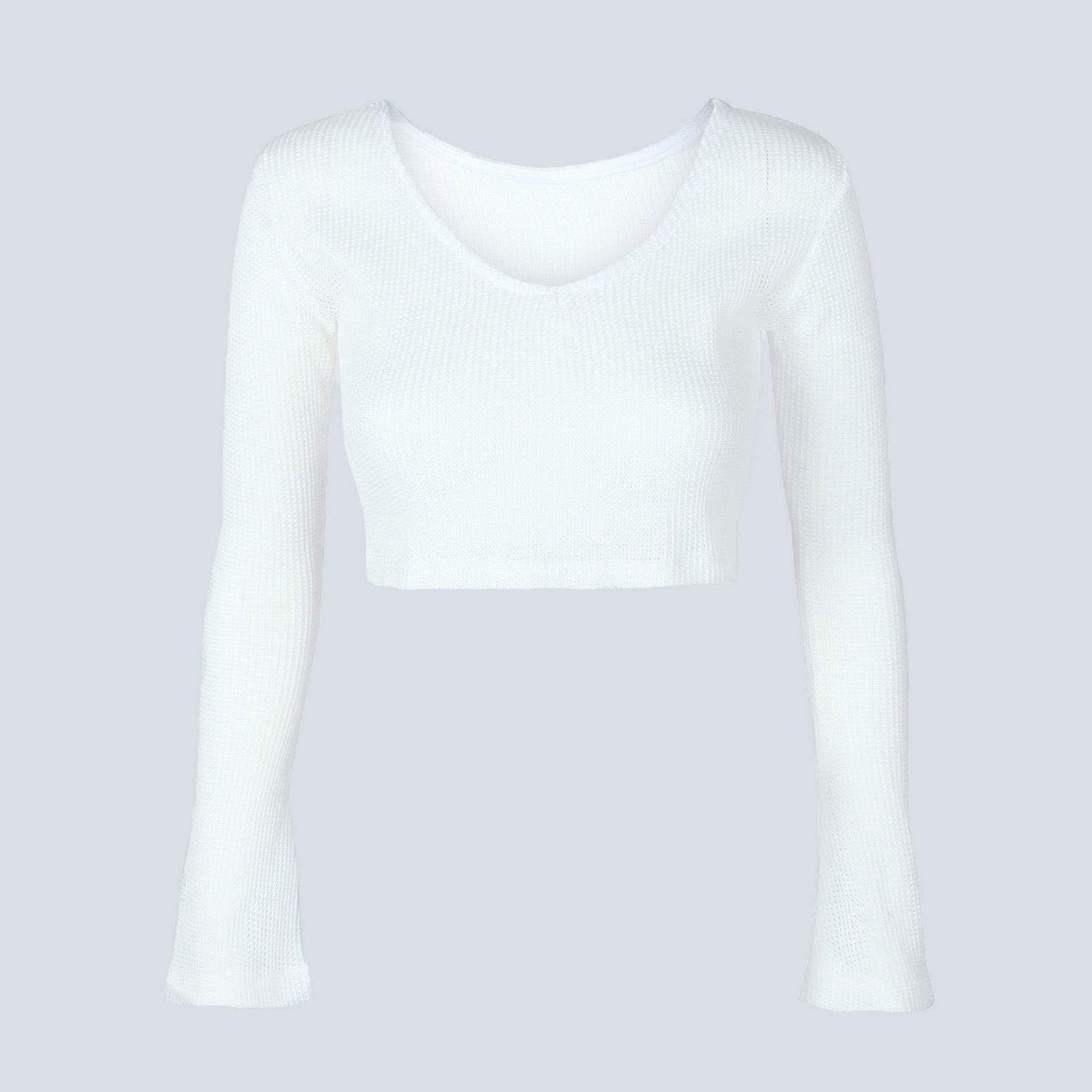 Womens Casual Blouse Tops Sweatshirts Knit Top Sweater,White V-Neck Long Sleeve Knitting Crop Top Knitwear Blouse Sweater Tops