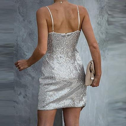 MEIbax Damska V-Ausschnitt High Waist Ärmelloses Riemen Reißverschluss Paillettenkleid Kurz Schulterfreies Sling Cocktailkleid Minikleid: Odzież