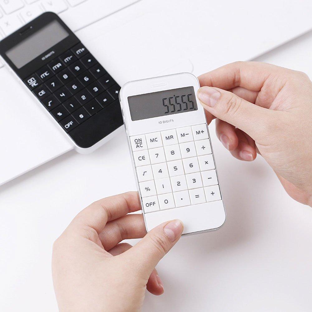 Zhouba 10/cifre Smart Phone Shape elettronico calcolatrice scuola ufficio Aritmetica Tool White