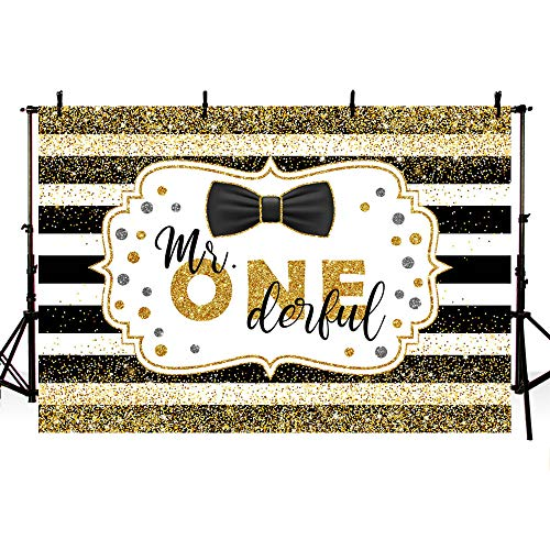MEHOFOTO Mr Onederful Photo Studio Booth Background Gold Glitter Black and White Stripes Tie Boy Happy 1st Birthday Party Decoration Banner Backdrops for Photography 7x5ft