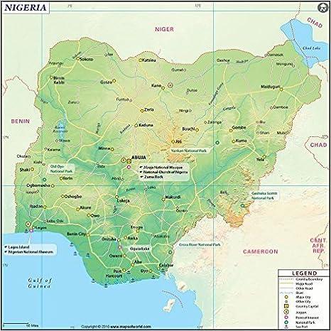 Amazon.com : Nigeria Map - Laminated (36