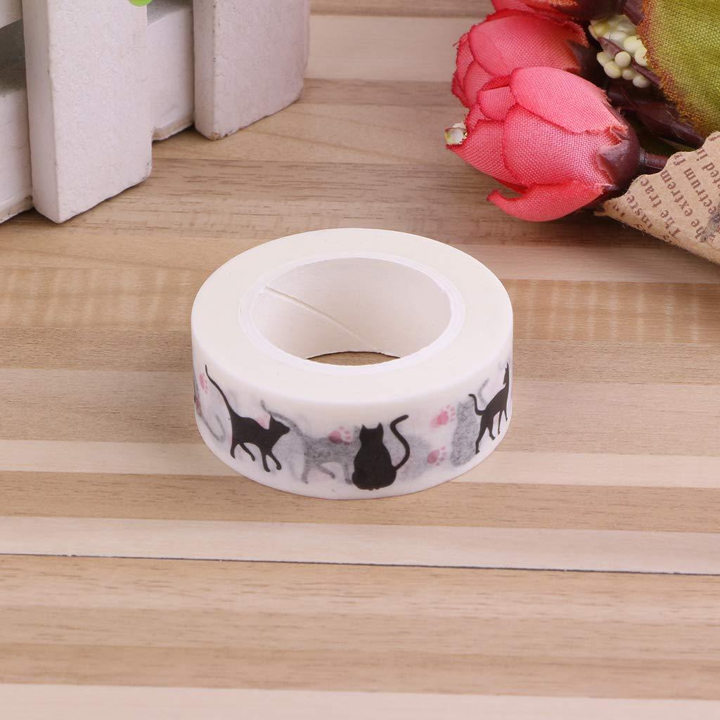 10 m color blanco Cinta adhesiva para regalos y manualidades KunmniZ dise/ño de gato 1 unidad
