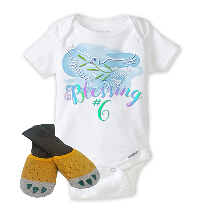 5fc6eecdd Blessings Numbered #6 Baby Onesies with Soft Yellow Claws Best Baby Gift  Idea (Newborn